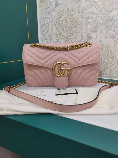 Almost New Gucci Marmont Small Pink Calf with aged GHW