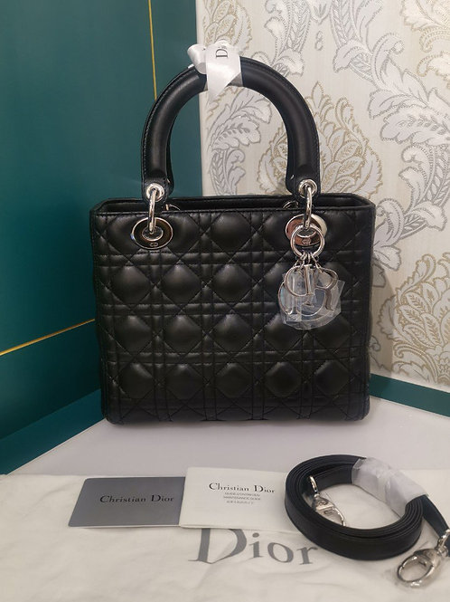 Brand New Lady Dior Medium Black Lamb with SHW