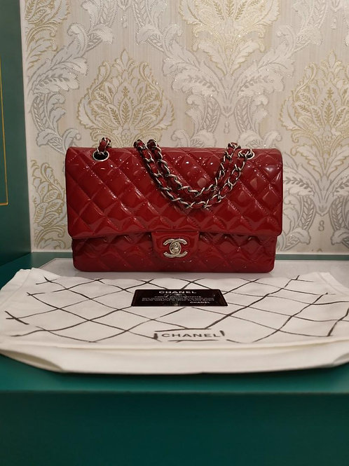 #18 Like New Chanel Medium Classic Double Flap Red Patent with SHW