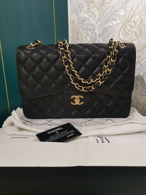#19 BNIB Chanel Jumbo Black Caviar with GHW