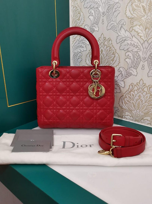 Excellent Lady dior Medium Red Lamb with GHW