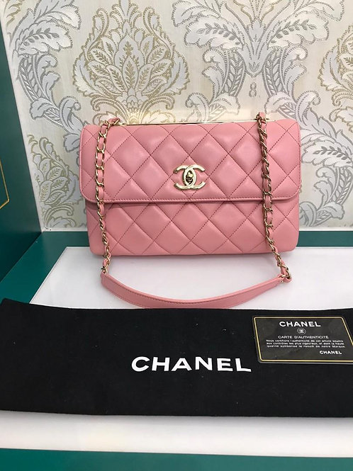 #27 Like New Chanel Trendy CC Shoulder Bag Lamb Pink light GHW
