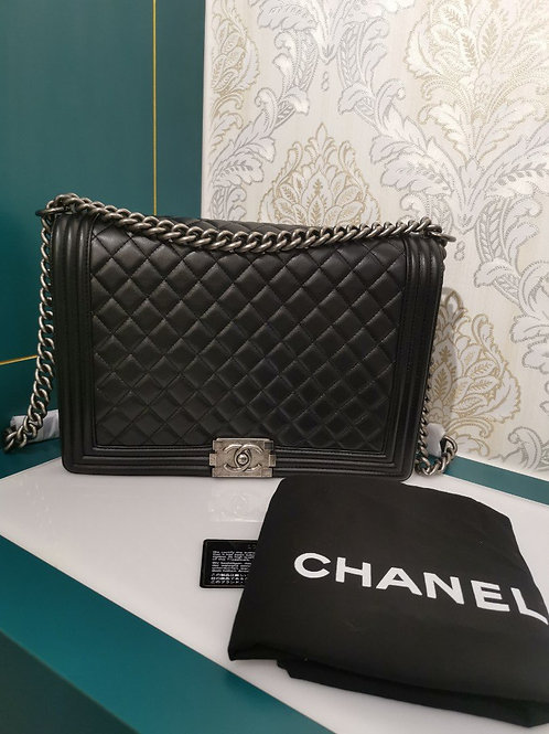 Brand New Chanel Boy Large Calfskin Black with RHW