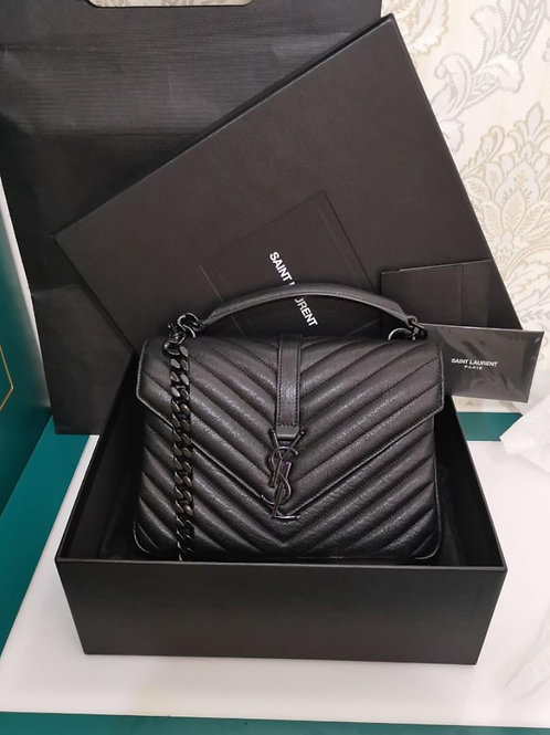 YSL Saint Laurent College Medium in Matelasse leather So black