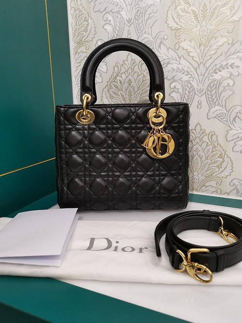 Like New Lady dior Medium Black Lamb with GHW