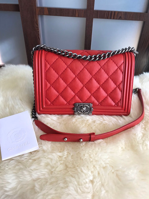 Chanel Boy New Medium Calfskin Red With Rhw