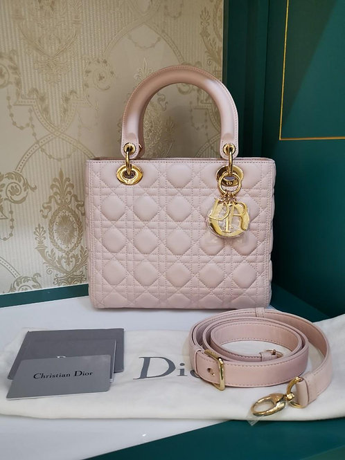 Brand new Lady Dior Medium Powder Pink Lamb GHW