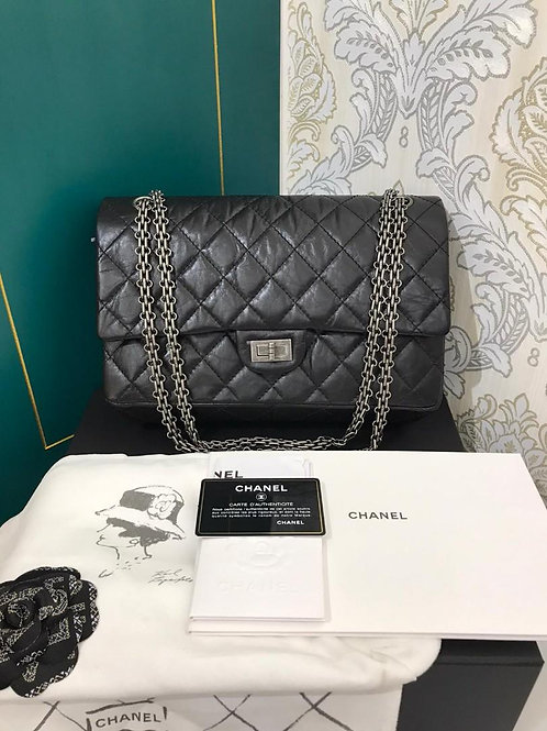 #29 BNIB Chanel Reissue 2.55 226 Black Distressed Calf with RHW