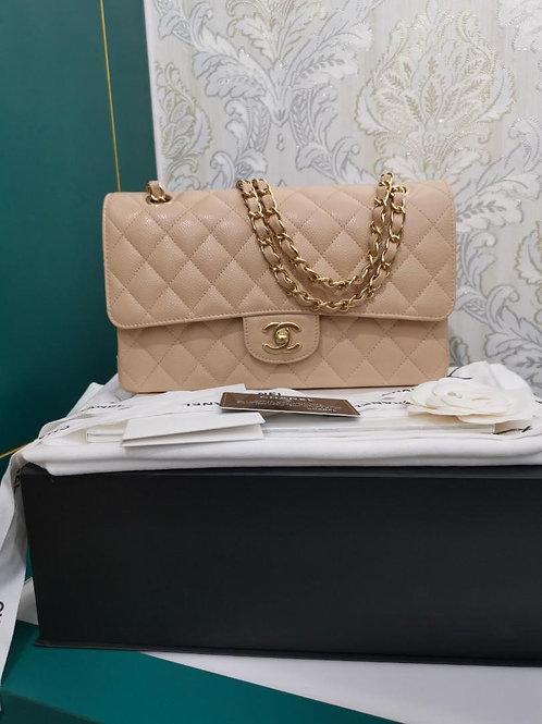 #30 BNIB Chanel Medium Classic Double Flap Beige Caviar GHW