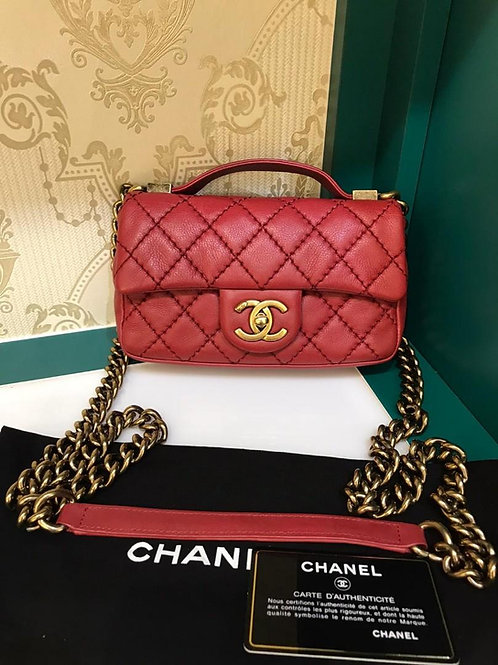 #20 Like New Chanel mini Flap with Handle Red Calf Aged GHW