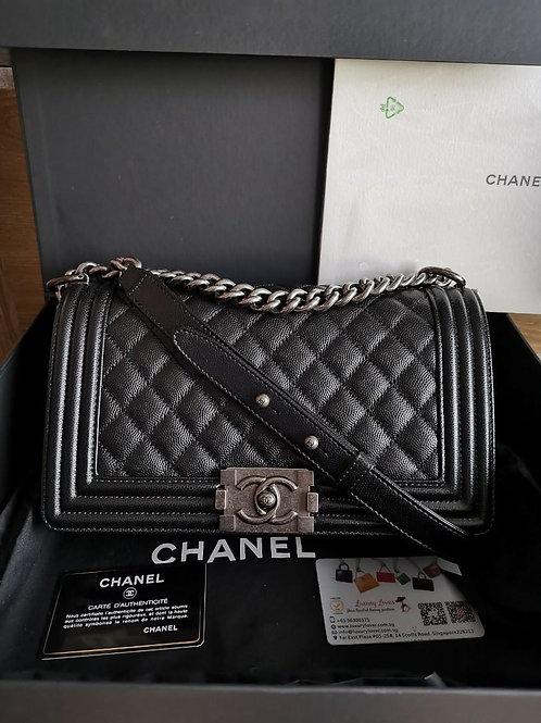#28 BNIB Chanel Boy Caviar Old medium Black with RHW