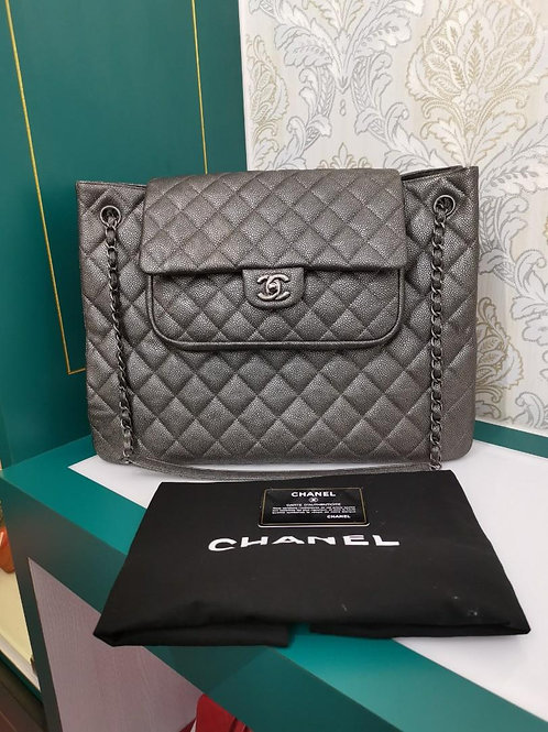 #21 Chanel Shopping Tote Large Silver Grey Caviar RHW