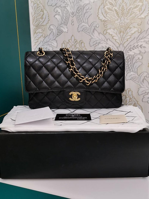 #14 Chanel Classic Double Flap Medium Black Caviar with GHW