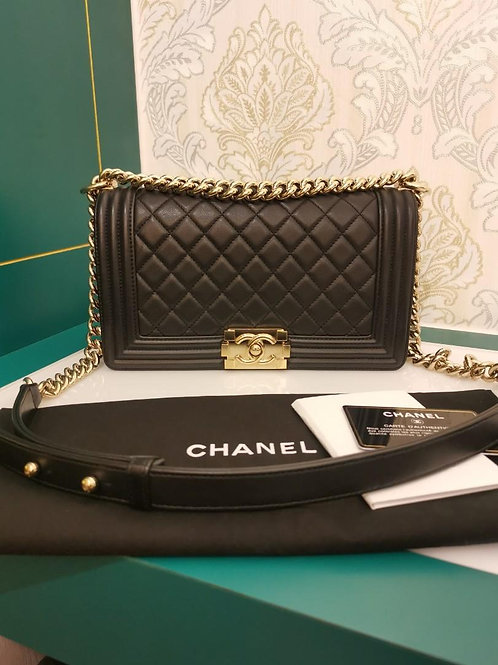 #24 Excellent Chanel Boy old medium Black Calf with GHW