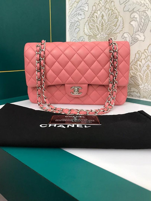 #16 Chanel Medium Classic Double Flap Bubble Pink Lamb SHW