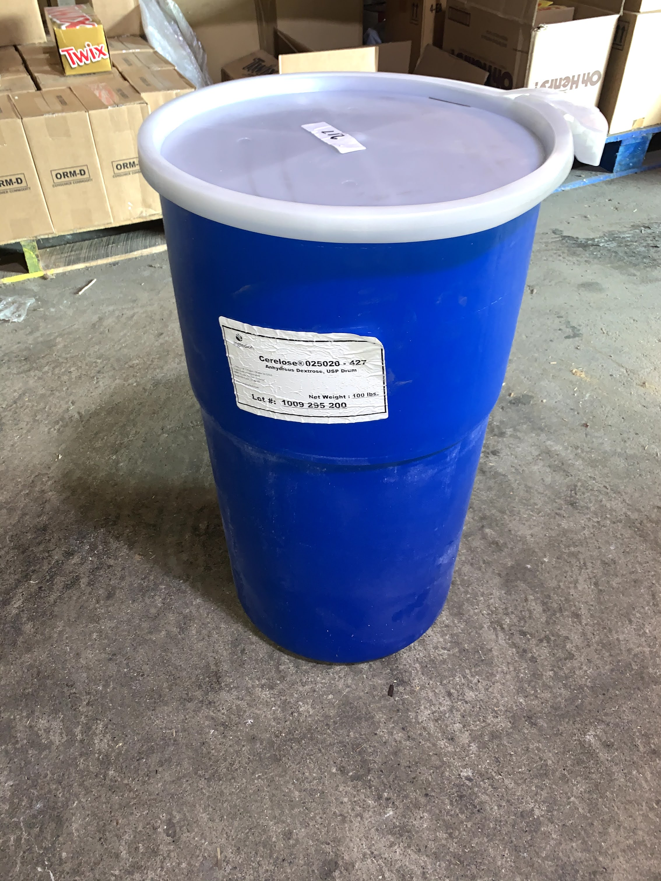 14 Gallon Blue Locking Barrels