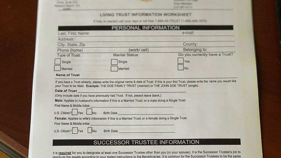 Living Trust Worksheet