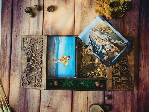 Double Wooden Storage Photo Box + Flash Drive USB of your choice