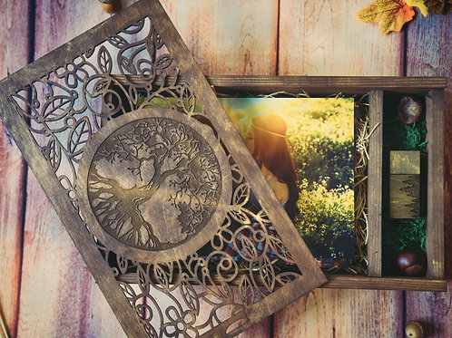 Large Wooden Box for Photos + USB drive with engraved tree
