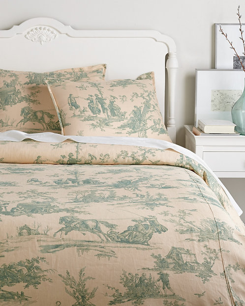 Whitney Linen Duvet Set, Mint/Linen
