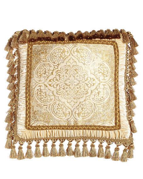 """Framed Medallion Pillow with Tassel Trim, 20""""Sq"""
