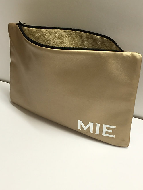 Monogrammed Faux Leather Clutch
