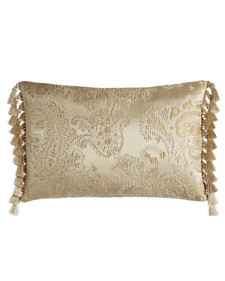 "Montfort Paisley Pillow with Side Tassels, 16"" x 2"