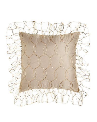 Grace Sheer Overlay Euro Sham with Ruffle