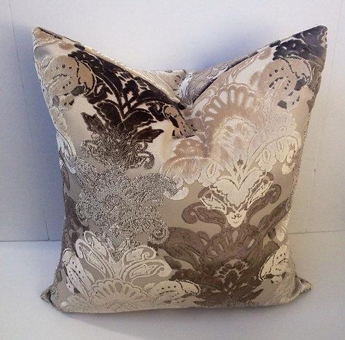 Silver Damask 18x18 Velvet Pillow