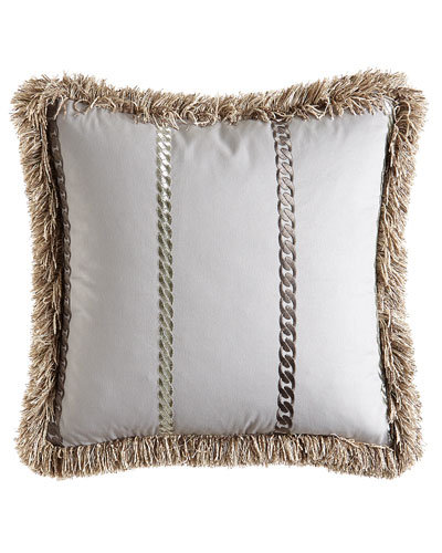 "Emilia 20""Sq. Fringed Pillow with Chain Embroid"
