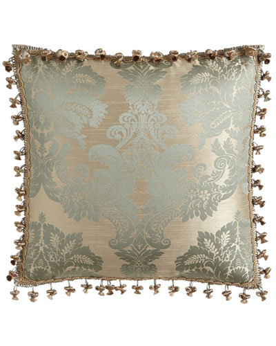 "Alyssa Damask Pillow w/ Onion Tassel Trim, 20""Sq."