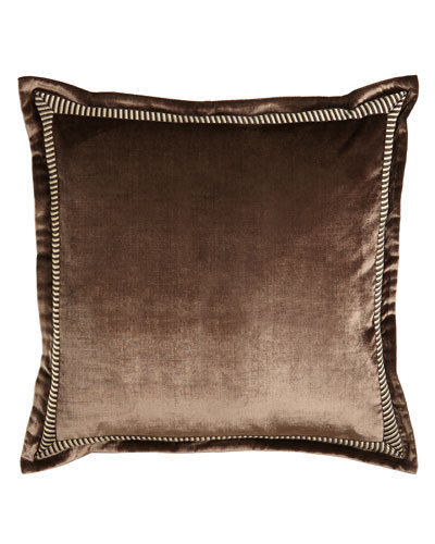 Arcady Velvet European Sham with Striped Border