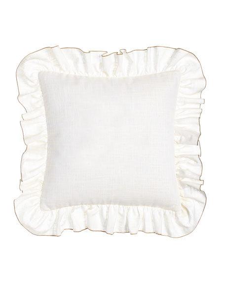 "Ruffled Kate Pillow, 17""Sq., white"