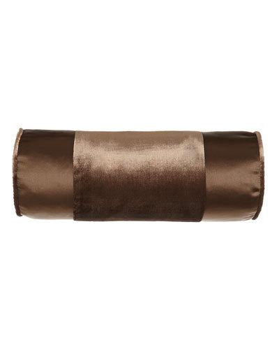 Arcady Satin Neckroll Pillow, Chocolate