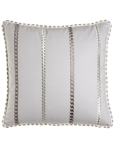 Emilia Euro Sham with Chain Embroidery