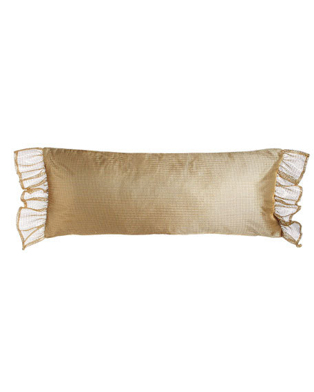 "Vittoria Ruffled Mesh Pillow, 13"" x 32"""