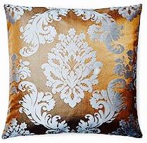 Julia 16x16 Pillow, Chocolate/Blue