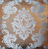 Damask, Chocolate/Blue