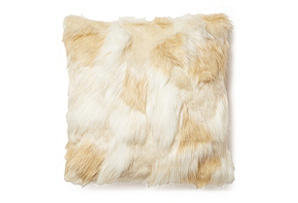 Sabrina 18x18 Faux Fur Pillow, Cream