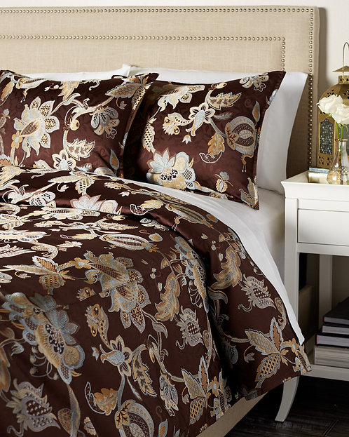 Carre Duvet Set, Chocolate/Blue