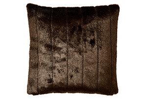 Laura 18x18 Faux Fur Pillow, Espresso