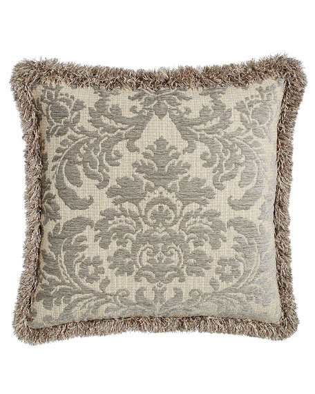 "Annabelle Damask Pillow with Fringe, 22""Sq."