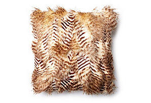 Nina 17x17 Faux Fur Pillow, Caramel