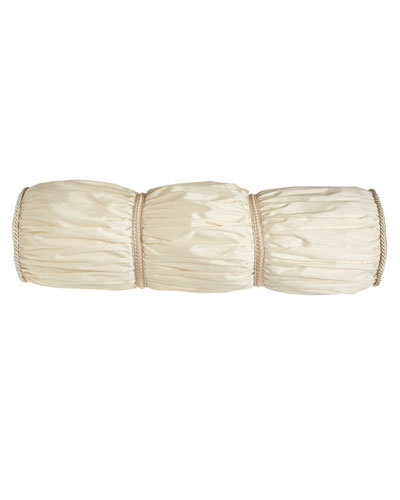 "Belclaire Ruched Ivory Bolster Pillow, 9"" x 31"""