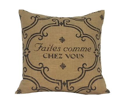 Francais 18x18 Pillow, Tan/Black
