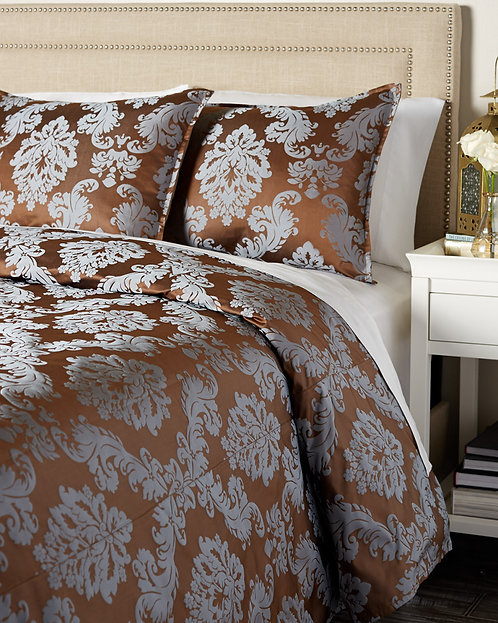 Firenze Duvet Set, Chocolate/Blue