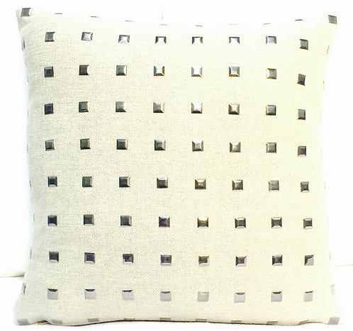 Studded Linen 16x16 Pillow, Silver