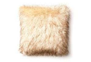 Anastasia 17x17 Faux Fur Pillow, Cream