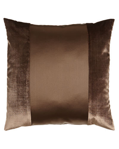 "Arcady Square Satin Pillow with Velvet Detail, 20"""