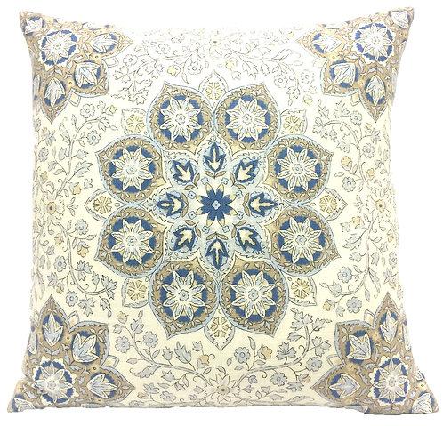 Gyroscope 16x16 Pillow, Cream/Blue